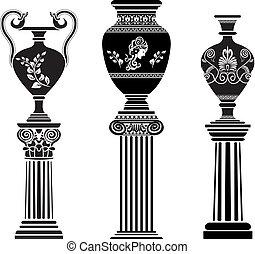 antico, greco, vaso, su, colonna