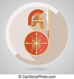 antico, guerriero, icona