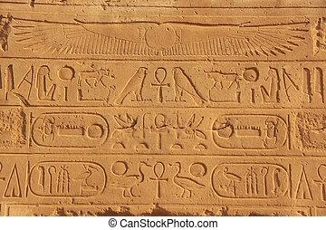antico, hieroglyphics, su, il, pareti, di, complesso tempio karnak, lussare, egitto