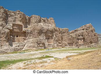 antico, iran, rustam, naqsh-e, pars, necropolis, provincia