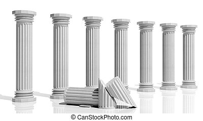 antico, isolato, colonne, marmo bianco, fila