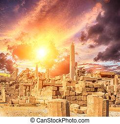 antico, karnak, tempio, in, lussare