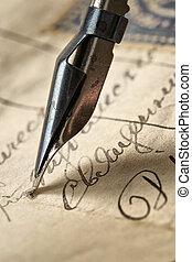 antico, lettera, e, inchiostro, feath