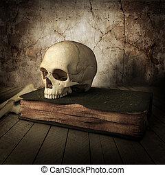 antico, libri, cranio