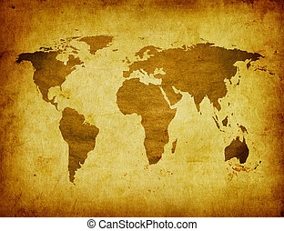 antico, mappa, di, mondo
