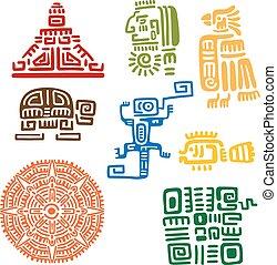 antico, mayan, e, azteco, totem, o, segni