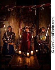 antico, medievale, lei, regina, guardia, interior., cavalieri, castello