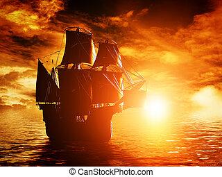 antico, navigazione, oceano, tramonto, nave, pirata