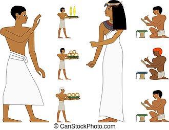 antico, noblewoman, persone, persone, illustrazione, trader., egitto, set, murali, nyle