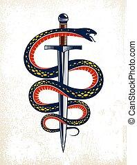 antico, o, involucri, pugnale, lotta, spada, tatuaggio, vita, serpente, concetto, intorno, serpente, vettore, allegorico, logotipo, emblema, simbolo., vendemmia