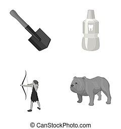 antico, pala, icone, bulldog, collection., elisir, dente, altro, sapper, set, cacciatore, inglese, monocromatico, style., cartone animato, icona