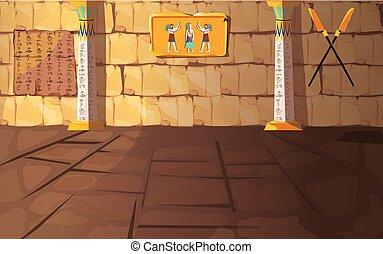 antico, stanza, egitto, faraone, o, tomba, tempio