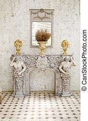 antico, stile, specchio, e, tavola, con, uno, vaso