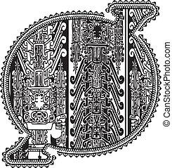 antico, vettore, 0., numero, illustrazione