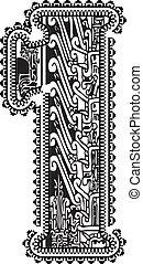 antico, vettore, numero, illustrazione, 1.