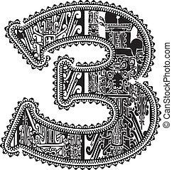 antico, vettore, numero, illustrazione, 3.