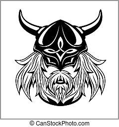 antico, viking, testa, logotipo, per, mascotte, design.