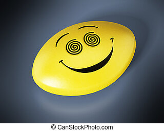 Antidepressant pill with smiling face. 3D illustration.