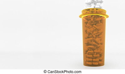 Antidepressant pills in a prescription bottle. Conceptual 3D animation