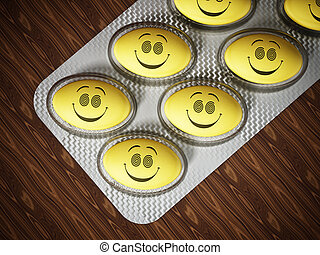 Antidepressant pills with smiling face. 3D illustration -...