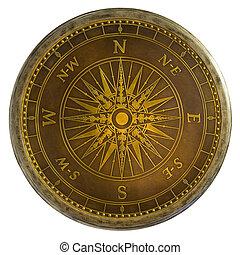antiek messing, kompas