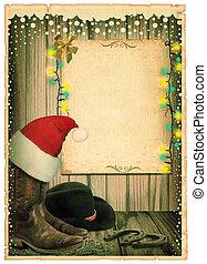 antiek oude, achtergrond, cowboy, tekst, papier, kerstmuts, kerstmis kaart