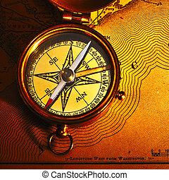 antiek oude, op, achtergrond, kompas, messing