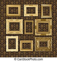 antieke , achtergrond, grungy, behang, frame