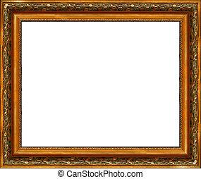 antieke , afbeelding, gouden, frame, vrijstaand, rustiek,...
