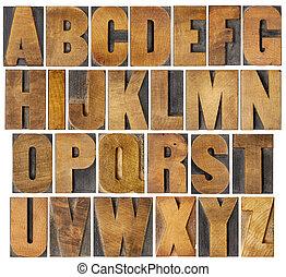 antieke , alfabet, set, in, hout, type