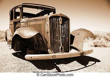 antieke , amerikaan, auto, in, de, woestijn