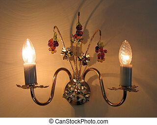 antieke , art-deco, stijl, muur, lamp