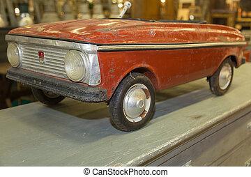 antieke auto, kinderen, rood, pedaal