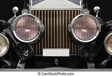 antieke auto, koplampen