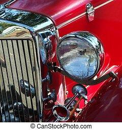 antieke auto, licht, en, grill