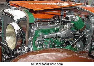 antieke auto, motor