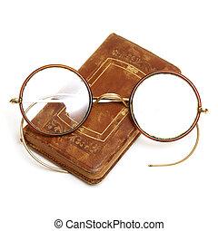 antieke , boek, en, bril
