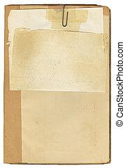 antieke , boek, en, merk papier op