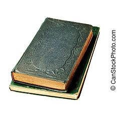 antieke , boek, van, de, 1800\'s, vrijstaand, op wit,...