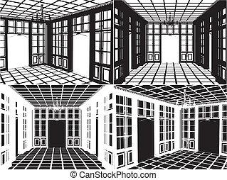 antieke , boekenkast, silhouette, kamer