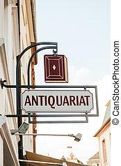 antieke , -, boekhandel, antiquariat, meldingsbord