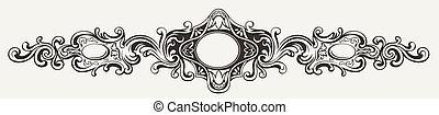 antieke , breed, frame, gravure, sierlijk