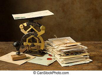 antieke , brief toonladder, en, oud, brieven