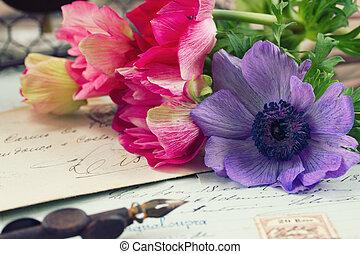 antieke , brieven, anemoon, pen, bloemen, slagpen