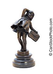 antieke , brons, figurine, van, de, meisje, met, bag.