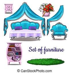 antieke , close-up, illustration., ouderwetse , vrijstaand, achtergrond., vector, interior., witte , spotprent, meubel