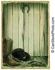 antieke , cowboy, tekst, papier, retro, achtergrond