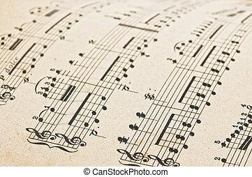 antieke , de score van de muziek