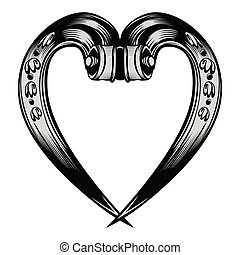 antieke , decoratief, embleem, hart
