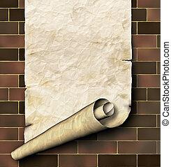 antieke , document rol, op, de, baksteen muur